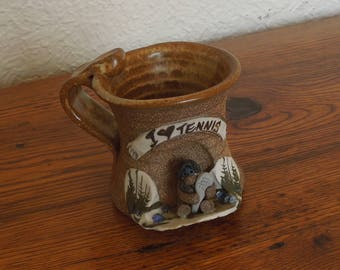 Vintage Stoneware Pottery Mug 3D I Love Tennis Eakin Mahon Era