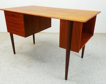 mid century Danish modern teak floating left sided desk with side bookcase