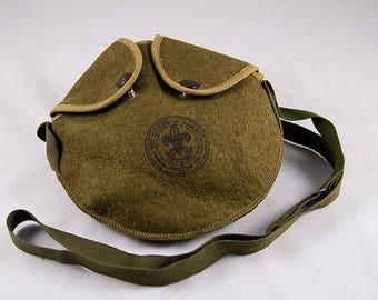 Vintage Canteen Cover, Boy Scouts of America, Adjustable Shoulder Strap