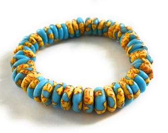 African Glass Beads, Yellow and Blue, Rondelle, Stretch Bracelet