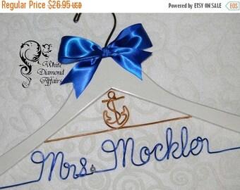 SUMMER SALE Anchor Nautical Personalized Beach Themed Wedding Bridal Hanger, Destination Caribbean Wedding Dress Hanger, Personalized Bridal