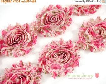 "Summer SALE 10% OFF 2.5"" Shabby Rose Trim-  Hot Pink Vintage - Pink Shabby Rose Trim - Printed Shabby Trim - Pink Chiffon Trim - Hair Access"
