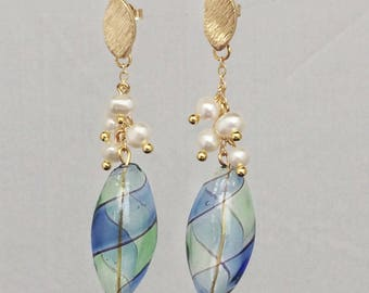 Hand blown glass and pearl earrings - available in gold or silver