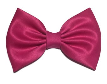 Hot Pink Hair Bow, Satin Hair Bow Clip, Bows For Women, Kawaii Bows, Handmade Bow, Satin Fabric Bow, Lolita, Big Bow, Baby Girl Bow, ST013