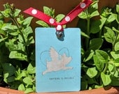 Anything Is Possible . Flying Pig . Bookmark . Accented with Ribbon and Charm