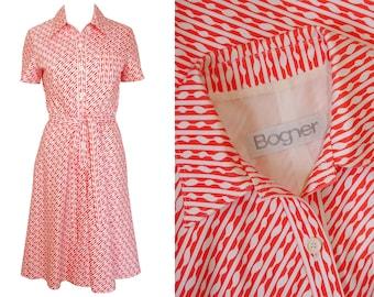 Bogner 1970s Vintage Belted Day Dress Shirt Dress Graphic Print Orange White US 4 XS