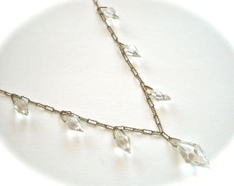 Art Deco  Faceted  Bicone Crystal Drops Necklace Paperclip Style Chain Marked Czechoslovakia Circa 1930