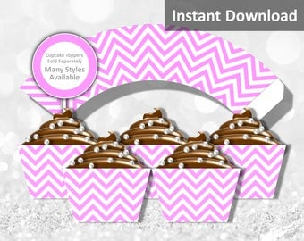 Pink Chevron Cupcake Wrapper Instant Download, Party Decorations