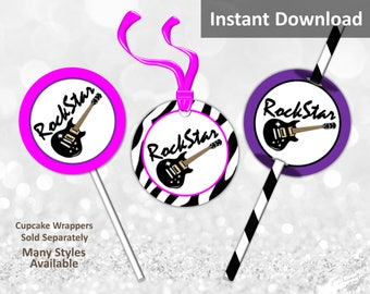Rock Star Cupcake Toppers, Favor Tags, Straw Flags, Instant Download, Hot Pink, Zebra, Purple, Guitar, Party Decorations