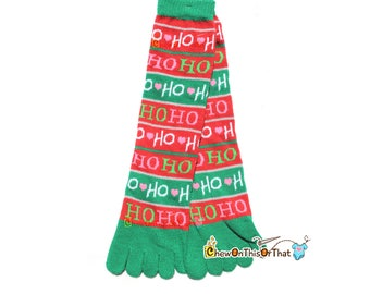 Ho Ho Ho Red, Green & Pink Christmas Toe Socks, 13 inch Holiday Toe Socks, Socks for Toes, Warm Feet, Christmas Accessory Quirky Fun