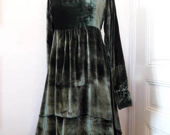 victoria green silk velvet dress