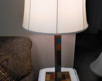 Handmade Wood Table Lamp One Of A Kind Table Lamp Multi Color Wood Table