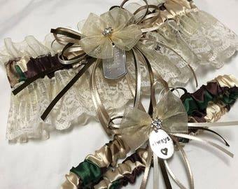 Custom Silky Camo Dog Tag prom or wedding garter
