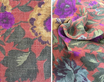 Vintage fabric by the yard | Couleur International linen-like muted floral fabric - price is per yard
