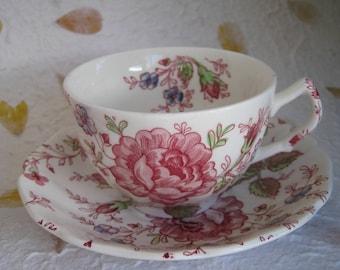 Rose Chintz Johnson Brothers Tea Cup & Saucer Set