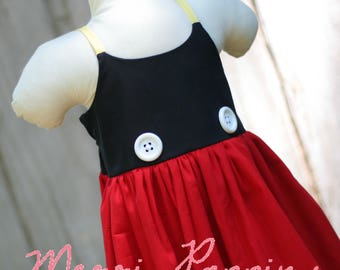 Lil Mickey strappy sundress, Twirly Mickey Mouse Inspired, Dress Up, Every Day Play Wear, Handmade, Mouse birthday