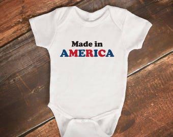 "Baby Bodysuit- ""Made in America"" - Funny Baby Onesie"