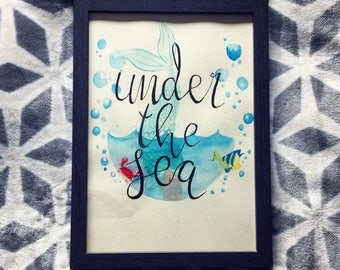 Under The Sea - The Little Mermaid - A4 Hand-painted Watercolour Wall Art