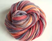 Thick and Thin knitting yarn, chunky merino knitting wool, rosy reds / pinks, peach and greys, big knitting wool