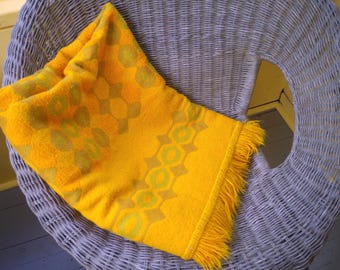 Super Mid Century Mod Blanket Throw Bold Goldenrod and Olive Mod Graphic Pattern