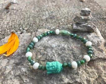 White Jade Buddha Bracelet, yoga, meditation, modest spirit bracelet