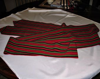 Bulgarian Hand Woven Long Striped Wool Sash, Folk Costume