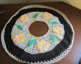 Crocheted Rose Adorned Doily