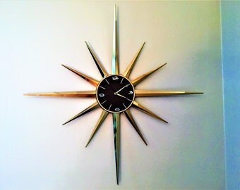 HUGE STARBURST CLOCK brass with wood toned face mid century modern gem