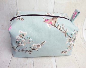 Large box makeup bag/ travel bag/ wash bag, made with cotton linen fabric and fully lined with water proof fabric