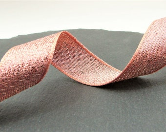 Rose Gold Lame , Sparkly Double Sided Ribbon 15mm Wide Per Metre