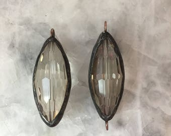 """Soldered Crystal Pendant Connector, 1.5"""" Oval, Large Rice Bead, Clear or Smoky, Crystal Prism, Handmade"""