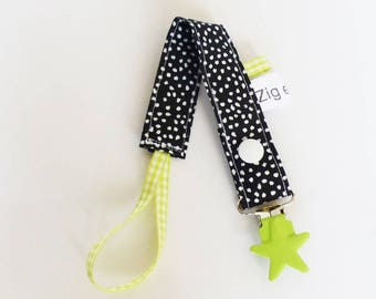 Pacifier clip-black and white polka dot pattern fabric / pistachio Green