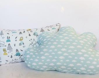 SET of 2 decorative pillows baby: Polar animals 40 x 25 cm / cloud 45 x 30 cm mint - Oeko-tex