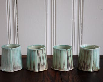 Soda Fired Porcelain wine cups Set of 4