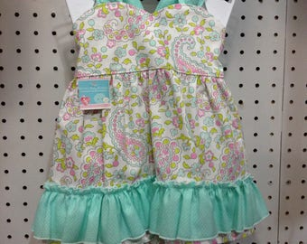 Pink/Teal Paisley Top w/ Ruffle Bloomers