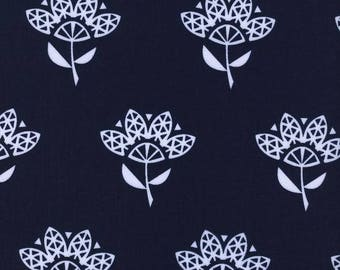 Cotton + Steel - Bluebird, White Cornflower on Navy, Sewing Material, Quilting, Clothing, Craft - Fat Quarter, Half, By The Yard, Yardage