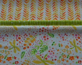 "Pillowcase Kit/Flower Fabric/Choose Pink, Green or Orange/Cotton Sewing Material/3/4"" Body Fabric, 2"" Accent Strip, 9"" Cuff/Make Your Own"