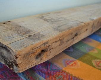 "Reclaimed Wood Fireplace Mantel 47"" x 8"" x 3"" Mantle Shelf Four 4 Feet Barnwood Barn Beam Rustic Distressed Antique 1800s Whitewash"