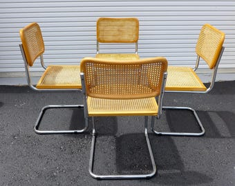 4 Vintage Cesca Chairs Chrome Cantilever Chair with Cane Seat and Back Marcel Breuer Style Mid Century Modern Light Beech Finish Italy