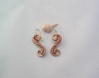 Swirly Wire Wrapped Earrings Copper Wire Wrap Earrings Copper Jewelry Handmade