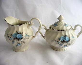 Cream And Covered Sugar Set, Snow White Regency, Johnson Bros. Ironstone, With Blue Roses