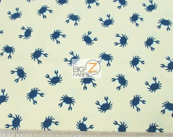 100% Cotton Fabric By Dearstella Design - Jack & Lula Crabs Yellow/Navy - By The Yard (FH-3331) Clothing Decor Licensed Quilt