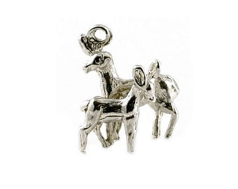 Sterling Silver Bambi & Mother Charm For Bracelets