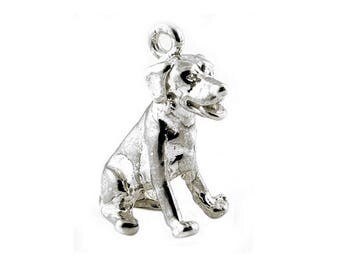 Sterling Silver Sitting Labrador Dog Charm For Bracelets