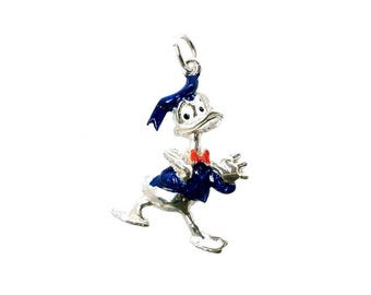 Sterling Silver Enamelled Donald Duck  Charm For Bracelets