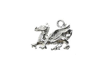 Sterling Silver Small Welsh Dragon Charm For Bracelets