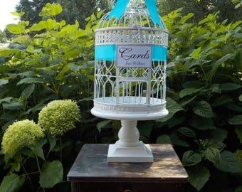 XL Wedding Bird Cage on Wood Pedestal,  Wedding Card Holder, Birdcage Money Holder, Bridal Shower Baby Shower, Wedding Supplies