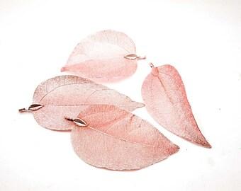 1 Pink Hollow Leaf Pendant/Charm - 31-20