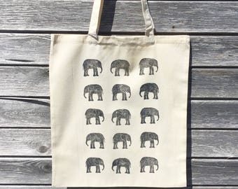 Grey elephant Tote Bag | 100% cotton | Eco friendly | Reusable shopper bag | Ethically produced | canvas bag |