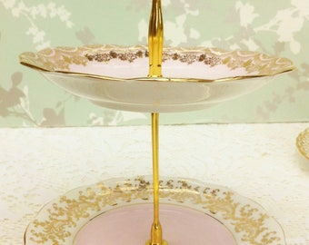 Pink and Gold 2 Tier Mini Cake Stand